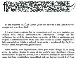Ekselans Patrik Bartholomew'un Özer Uçuran Çiller'e Yazdığı Mektup